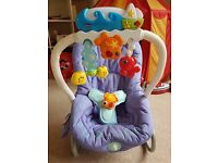 Chicco baby chair from 0+ mths - vibrates, has lights, music & mp3 attachment, in excellent cdt