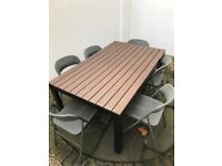 Garden Furniture. Spacious table and six chairs. All weather proof.