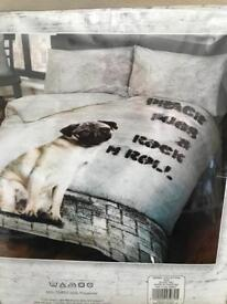 Single bedding set - pug design - new