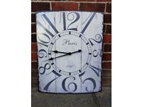 Extra Large Vintage Style / Shabby Chic Rectangular Wall Clock 70cm x 58cm