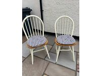2 'Windsor style' cream and light wood kitchen / dining chairs