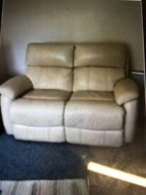 2 seater sofa and 1 armchair in cream leather both recliners