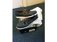 Brand New Dune Boat Party Navy Leather Boat Shoes - Never Used Still in Box