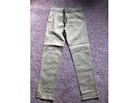 BOYS H&M SLIM STRETCH TROUSERS TAUPE/DK BEIGE AGE 13-14 YRS GOOD COND £5