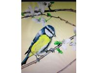 Hand painted original art of a Blue Tit bird in a 12 inch x 10 inch frame