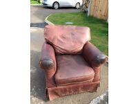 Laura Ashley leather arm chair.