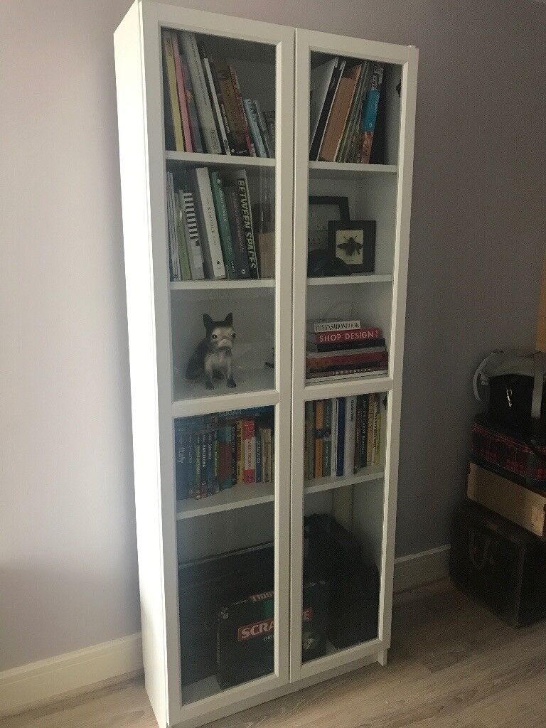 White Bookcase Shelving Unit With Glass Doors In Gravesend Kent
