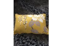 Yellow Ochre and Grey Romo Cushion plus free fleece Throw