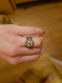 14ct white gold, aquamarine and diamond ring set of 3