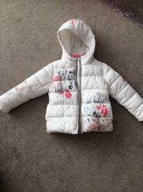 Next girls cream floral coat age 5
