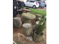 Concrete garden bench and stools in nailsea