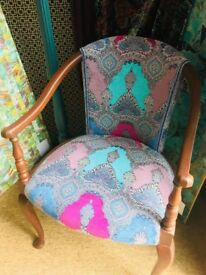 Antique Mathew Williamson Designer Fabric Upholstered Chair