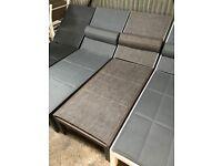 Aluminium Sun lounger with padded mesh fabric Brown