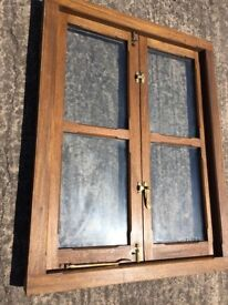 Hardwood double glazed window with brass fixings - varnished