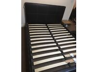Faux Leather Dark Brown King Size Slatted Bed Frame With Free Mattress