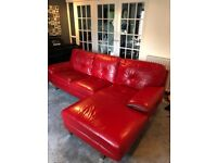 Lovely red leather sofas x2