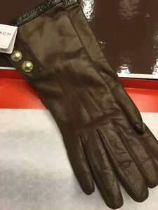 Coach 3 button ladies leather gloves, brown size 8 brand New