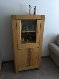 Solid Oak Wood and Glass Display Cabinet, including drawer and cupboard shelf