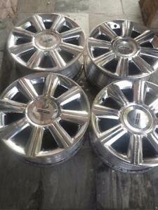 LINCOLN MKX FACTORY OEM 18 INCH CHROME CLAD ALLOY WHEELS WITH SENSORS IN EXCELLENT CONDITION.