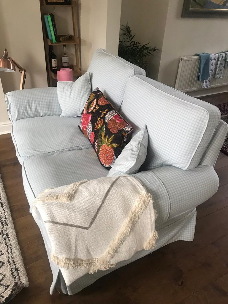 Blue Gingham Two Seater Sofa