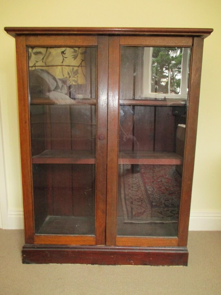 Antique Vintage Glass Fronted Two Door Wooden Curio