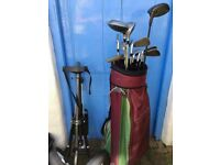 Set of Golf Clubs, Driver, Bag, Trolley, Balls and Tees