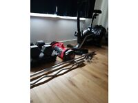 Olympic weight set, heavy duty matts. Olympic bars. Power bag. 110 plates. Roger black exercise bike