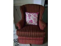 LOVELY LARGE GOOD QUALITY HIGH BACK , WINGED CHAIR IN NEW CONDITION