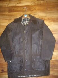 Barbour waxed jacket, brown/green . Size C36/91cm