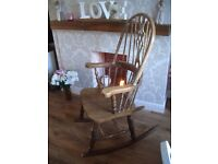 "ANTIQUE HAND CARVED SOLID OAK ""WINDSOR"" ROCKING CHAIR... extremely firm and solid."