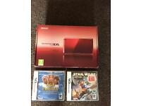 Nintendo 3ds boxed with 2 games and a few built in mario Pokemon y monster hunter 3D