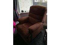Rise & Recline Armchair + 1 Regular Armchair in Brown