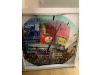 london themed glass wall clock