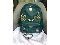 Mcm Backpack Medium navy blue mint condition with dust bag