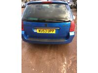 PEUGEOT 307 2.0 DIESEL SW 7 SEATER 2003 BLUE MANUAL MOT UNTIL JULY 2017 ALLOY WHEELS 120 000mls