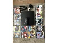 PS3 500GB equipped with all cables and a controller and four games of your choice
