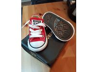 Converse trainers size toddler size 3 red and white . Never worn with orgianl box .
