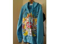 brand new with tags blue hoody with dragon design size meduim