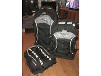 Immaculate 3 piece luggage set. Large wheeled bag, wheeled cabin bag and rucksack