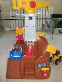 fisher price big action construction site with digger and boulders great condition rare