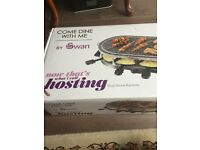 Brand New Swan SP17030N Classic Oval Stone Raclette 8 Person Indoor BBQ Grill