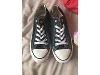 Black and white all star converse