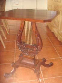 Mahogany Lyre design occasional table