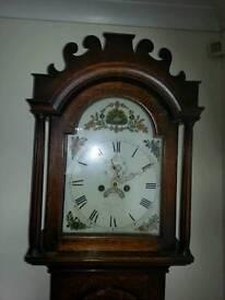 Georgian oak eight day longcase Grandfather clock.