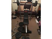 Weight bench with weights ,curl bar and dumbbells ,GYM