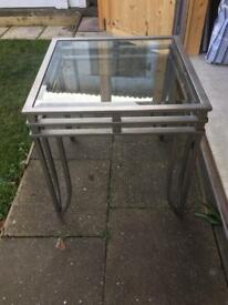 Metal and glass coffee/lamp/side table