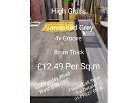 LAMINATE FLOORING HIGH GLOSS FINISH GREY VARNISHED £12.49m2