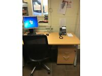 Office Furniture - Light Oak Under Desk Pedestal 2 Draw - Black Swivel Chair - Light Oak Table - Set