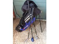 Children's golf clubs x3 and bag