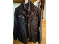 Mens Jacket - wax style outer padded inner - size small